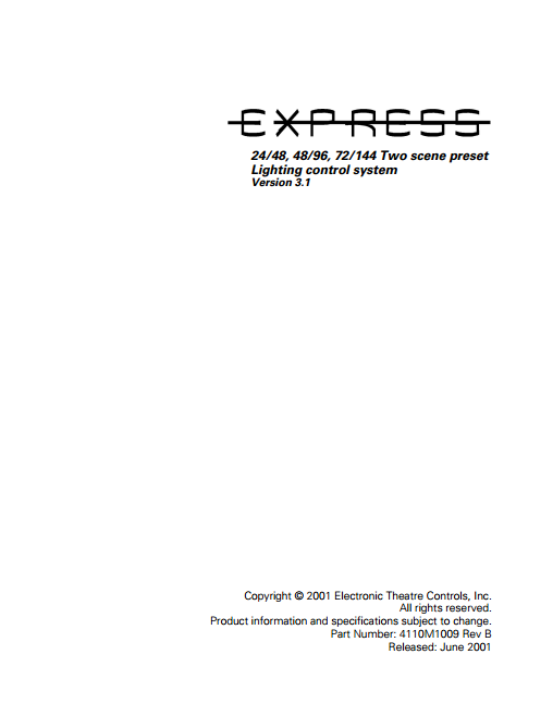 Express ECT Light Board Manual