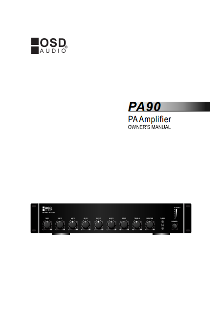 OSD PA90 - 70 Volt Amplifier Manual